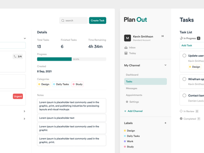 Planner App pt.2 management complete select nav side bar mobile ux design ui design cards project manage task app web minimal interface design ux ui clean