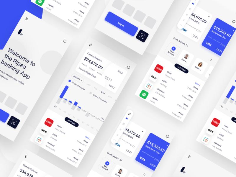 Online Banking App finance app card bank app account savings money transfer bank minimal clean web ux ui interface app banking online design apple ios