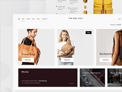 Ecommerce Website Concept simple bags storefront conceptual website design ecommerce design shop store clothes fashion page landing website minimal design clean web interface ux ui