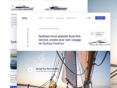 Luxury Boat Website simple boating rent desktop webpage fun event hire yacht boat page landing website minimal design clean web interface ux ui