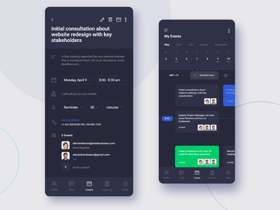 Scheduling App Screens - Dark UI ux ui schedule projects plan mobile minimal message ios interface inbox app design colours clean chat calendar booking book appointments app