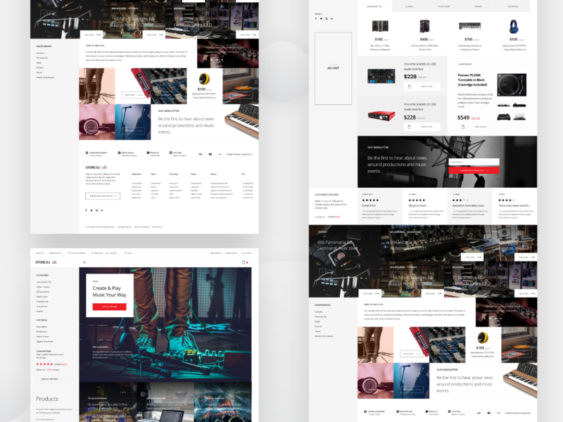 Music Store Landing Page v2 website webpage web ux ui store search product page design music app music minimal pages landing interface ecommerce design clean buy