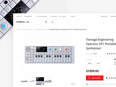 Music Store Landing Page v5 product ecommerce store design store shopping music app music instrument page landing search website minimal app design clean web interface ux ui