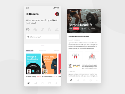 Fitness App ios web training train excercise health gym working out workout mobile iphone fitness app fitness search minimal app design clean ux ui