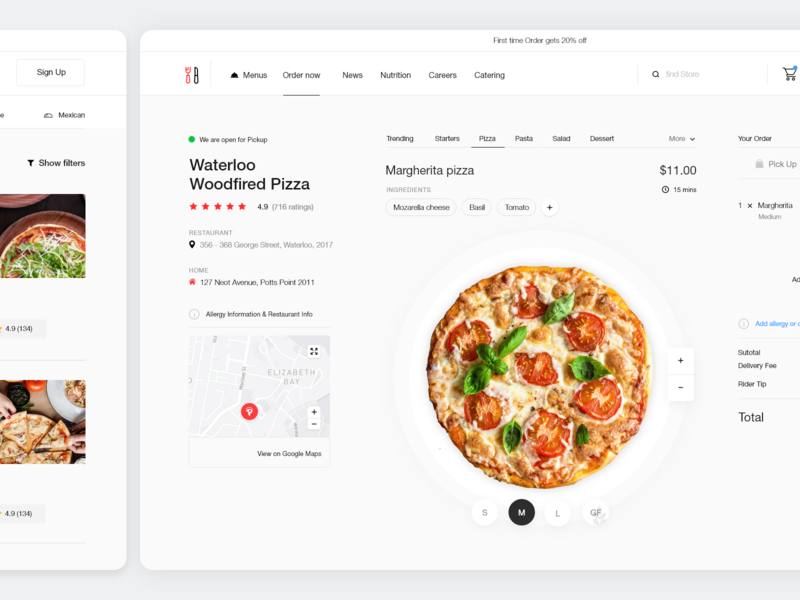 Online Food Delivery Service pt.2 simple pizza fast food takeaway online food app delivery order food website dashboard search minimal app web design clean interface ux ui