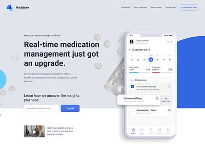 Medication Tracking App patients medication meditation user interface mobile iphone medical app doctor healthcare meds medicine medical web page app web design clean interface ui ux