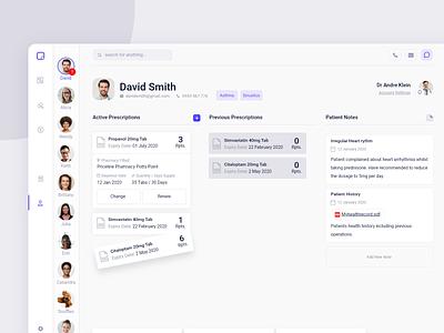 Medication Management Dashboard pt3 healthcare health medication platform system management doctor patient card page dash dashboard minimal app web design clean interface ui ux
