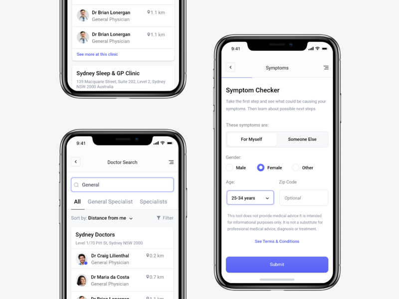 Doctor Search App application sick medicine medical doctor healthcare health phone iphone mobile ios search minimal app web design clean interface ui ux