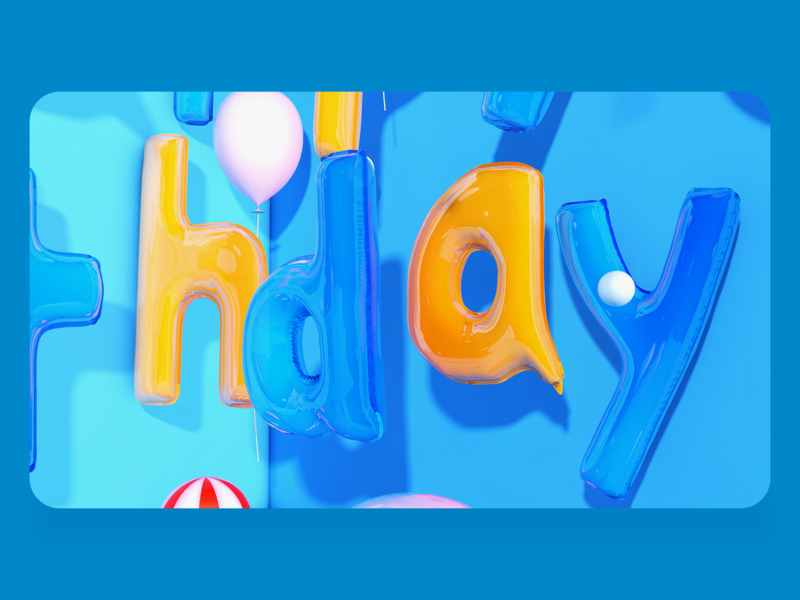 气球字 c4d design