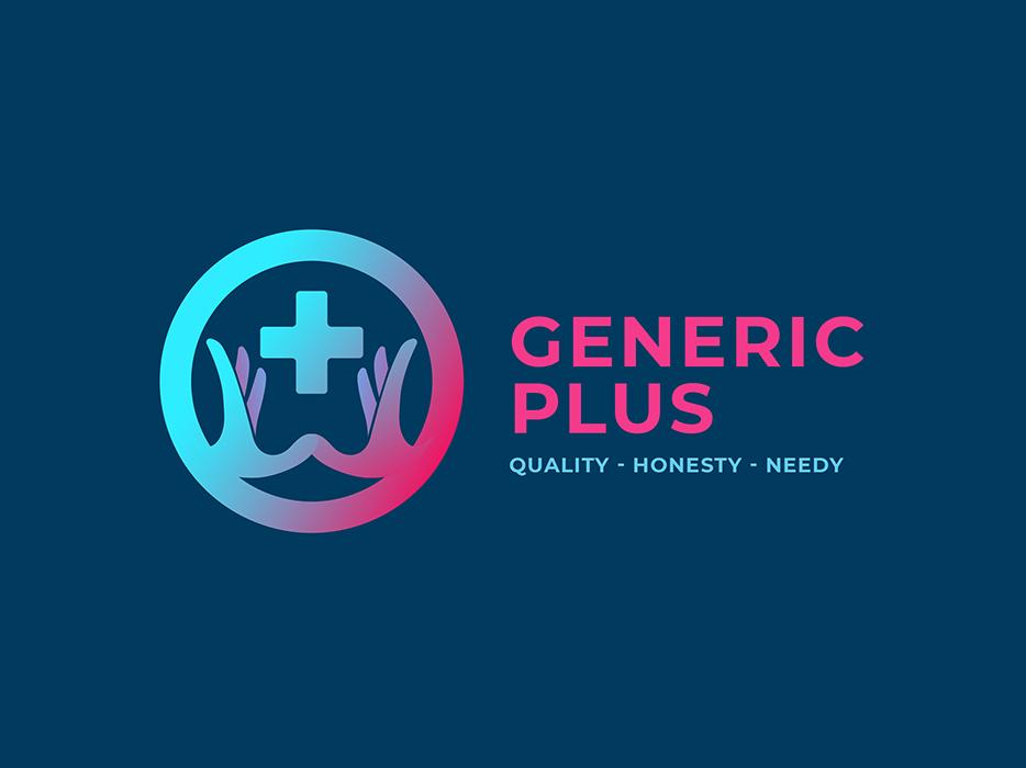 Logo concept   Generic Plus cause ngo help hands dark blue professional minimal clinic generic plus gradient icon logo design logo concept medicine medical phama logo
