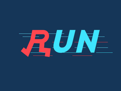 RUN Animation - from 66 smart words race fast shape animation texture blue logo gif creative motion graphics logo text animation typography animation word logo run gif minimalist logo animation