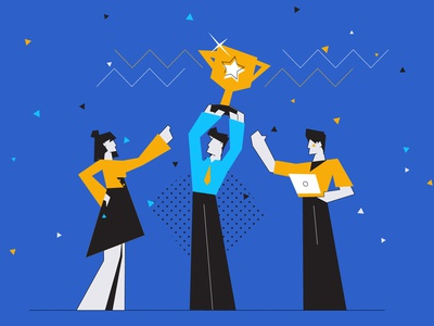 Award Winning Explainer Video Production product demo cartoon explainer videos animation creative agency award winning trophy flat character explainer video video production winner team award