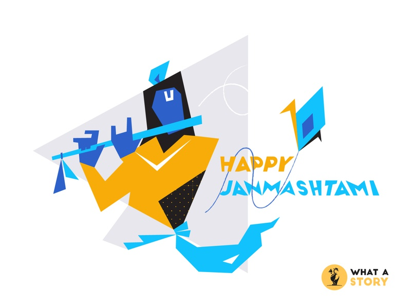 Happy Krishna Janamshtmi 2019 creative agency animation multimedia graphic design celebrations creative design creative birthday bash hinduism festival krishna lord krishna birthday