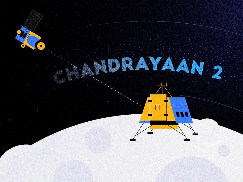 Chandrayaan-2 Mission To Moon (Illustration) india illustration design illustration art illustration creative art creative design creative universe space solar system astronomy vikram lander moon mission isro moon chandrayaan2
