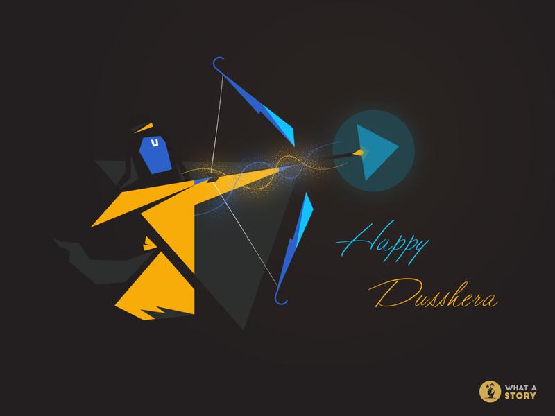Happy Dusshera 2019 - What a Story creative animation minimal lord rama design illustraion what a story vijay dashmi dussehra wishes
