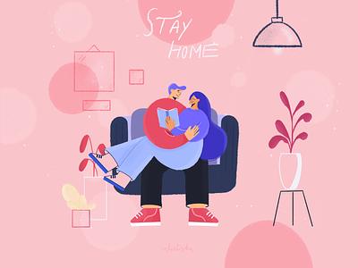 Stay home illustration procreate vector graphics draw brand design illustration
