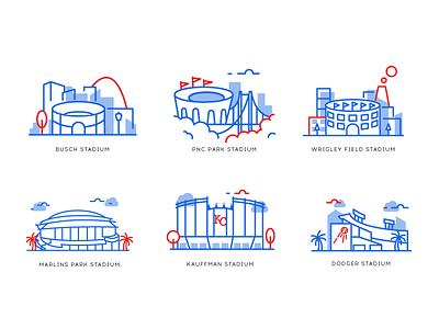 Major League Baseball stadiums ux user ui ios graphics stadium design app draw illustration icons