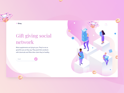 Illustration for gift giving social network ux user ui isometric ios illustration icons graphics gradient draw design app