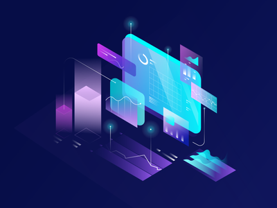 Illustration for cryptocurrency web gradient site page mining illustration interface design currency crypto bitcoin