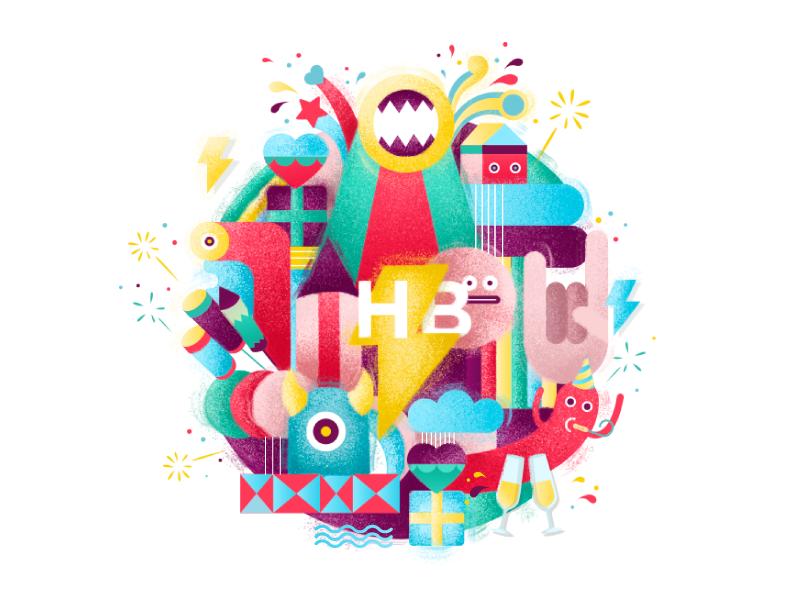 Birthday Postcard identity design branding brand colors gifts photoshop illustration birthday happy draw