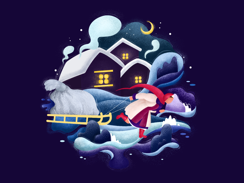 The Night Before Christmas design vector graphics draw illustration