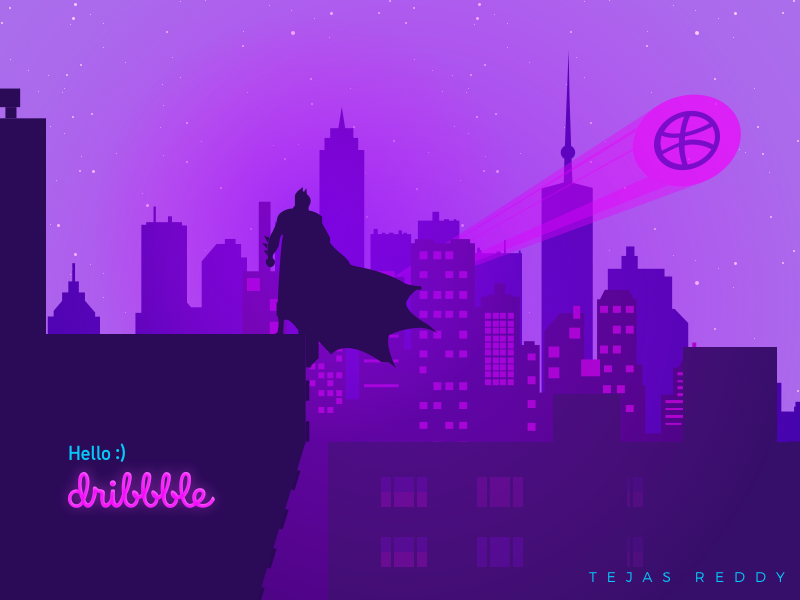 Hello Dribbble! muzli first shot illustration batman art dribbblers debutshot design