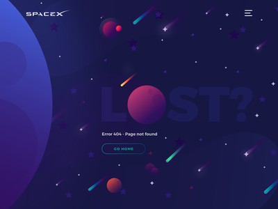 Error 404 - Page not found design error lost webpage uxdesign visualdesign uidesign colors space home spacex 404 page 404 design