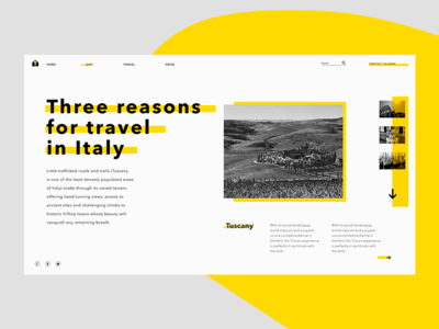 Italy Travel site simple modern yellow ui travel italy