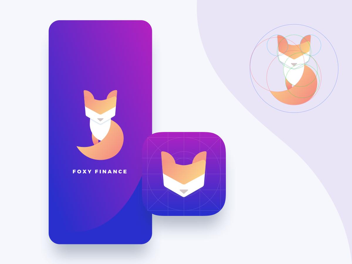 🦊 Foxy Finance App Icon money finance splash purple golden ratio fox logo icon ui app