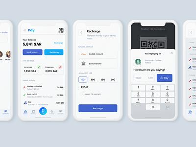 Pay App concept bank friends iphone incoms expenses transactions wallet payment app transfer money ui ux ui