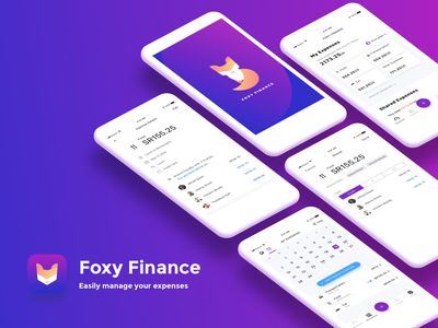 🦊 Foxy Finance expenses split share iphone ios app ui logo fox purple splash finance money