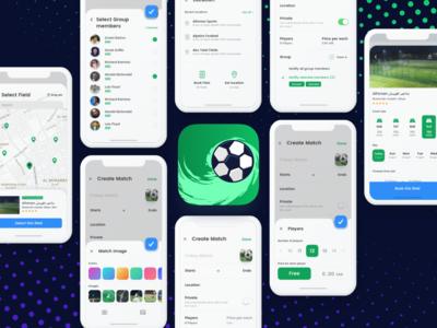 ⚽️ Soccer app (Organize Match Concept) mobile iphone x ui  ux book map invite search field match create ui app soccer