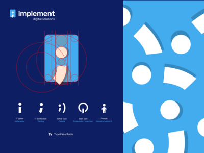 Implement, development house logo identity brand logo programming coding implement semicolon letter i golden ratio