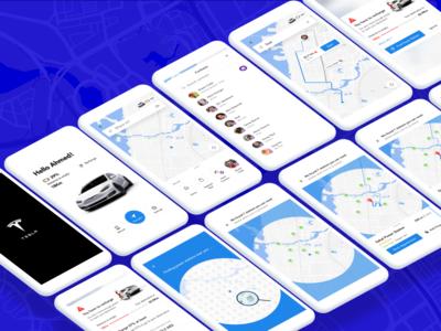 ⚡️ Electric car navigation app concept ui ui  ux app ios tesla electric car map navigate battery interaction car