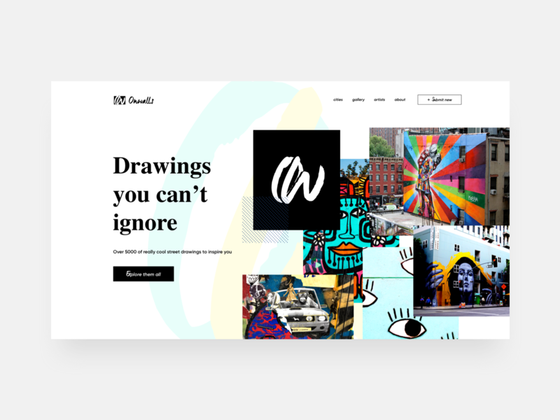 🎨Onwall Gallery brush logo colorful colors explore high contrast website drawings art design wall grafitti gallery