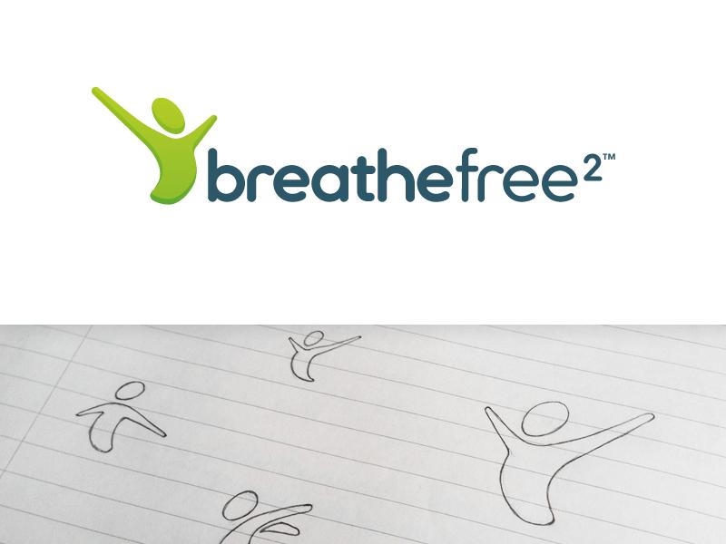 Breathe Free 2 Logo healthcare sketch ultima font breathe freedom logo logo design green green logo quit smoking ultima figure health imperfect