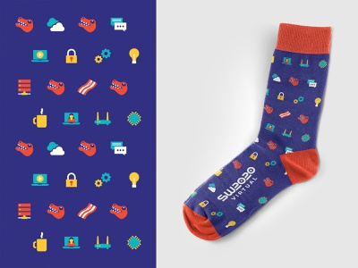 SpiceWorld 2020 Socks pattern design swag laptop it tech trex illustration design pattern socks