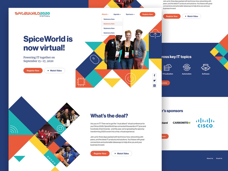 SpiceWorld 2020 Website icons conference event branding pattern web design website