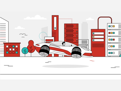 Where Data Drives Decisions 4/4 data tech end card line laptop servers tunnel hover car car illustration animation