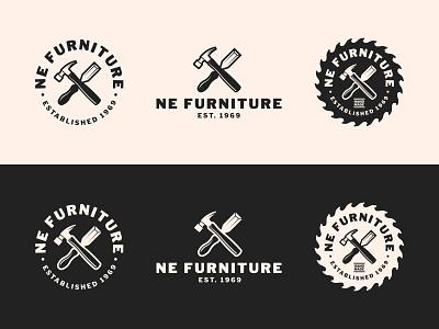 NE Furniture Logo chisel hammer rustic furniture carpenter badge design badge logo designs logodesign wordmark mark logo design logo