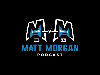 Matt Morgan Podcast 📌📌 black blue badge pins logo design logo podcast