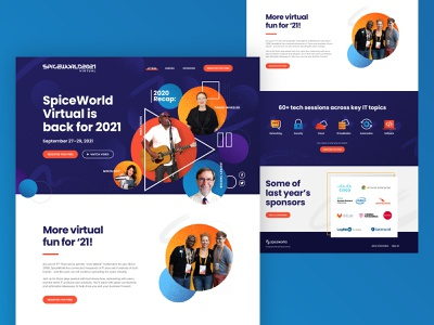 SpiceWorld 2021 Homepage stippled grunge circles colors brand design web web design spiceworld