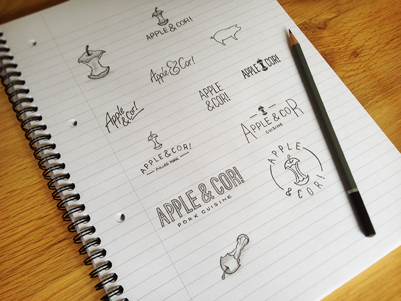Apple & Cor! Logo Ideas logo design logo food logo food apple restaurant pork pig sketch branstorming ideas