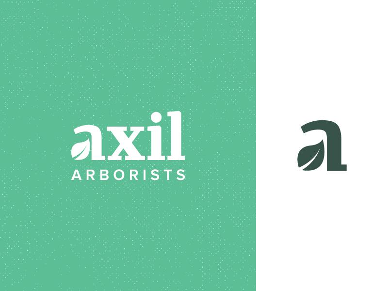 Axil Arborists outdoors tree care tree surgery tree arborist leaf mark wordmark logo logo design
