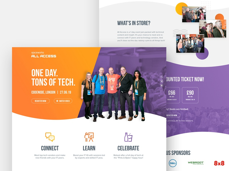 All Access 2019 Website purple orange event branding event icons web design landing page website all access