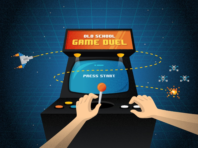 Arcade Illustration space invaders joystick start game retro gaming arcade