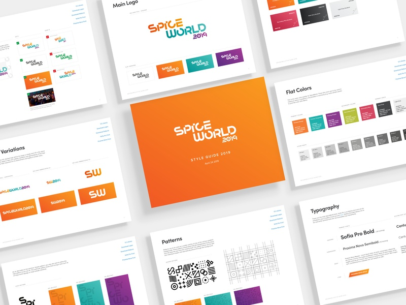 SpiceWorld 2019 Style Guide event design brand identity typography brand guide guidelines brand design styles branding