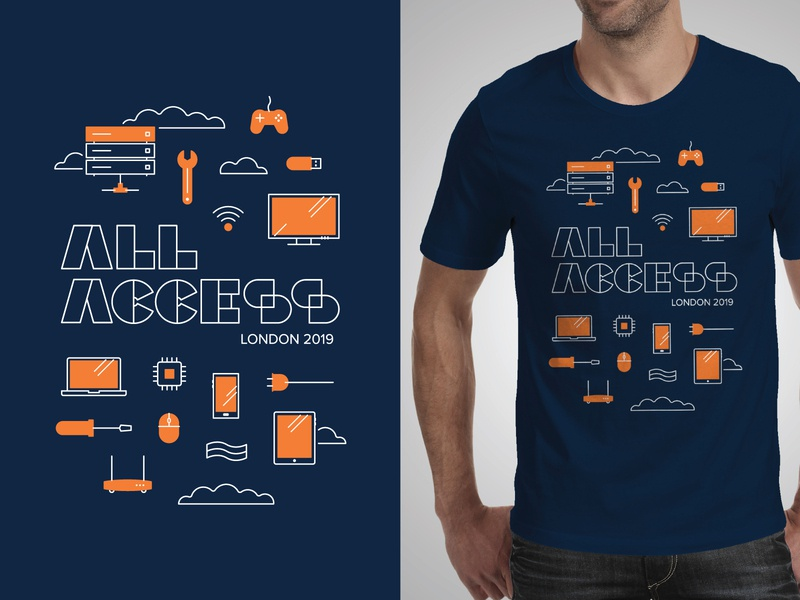 All Access Tee event conference tshirt design print design print orange tech illustration tshirt