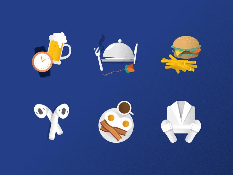 Random Illustrations breakfast spa airpods burger food beer icons illustration