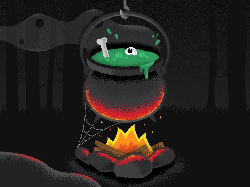 Cauldron 🎃 night dark illustration spooky trees woods fire rocks slime cauldron halloween